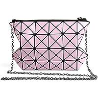 Women's Geometric Lattice Crossbody Bag Handbag Purse with Metal Chain Strap