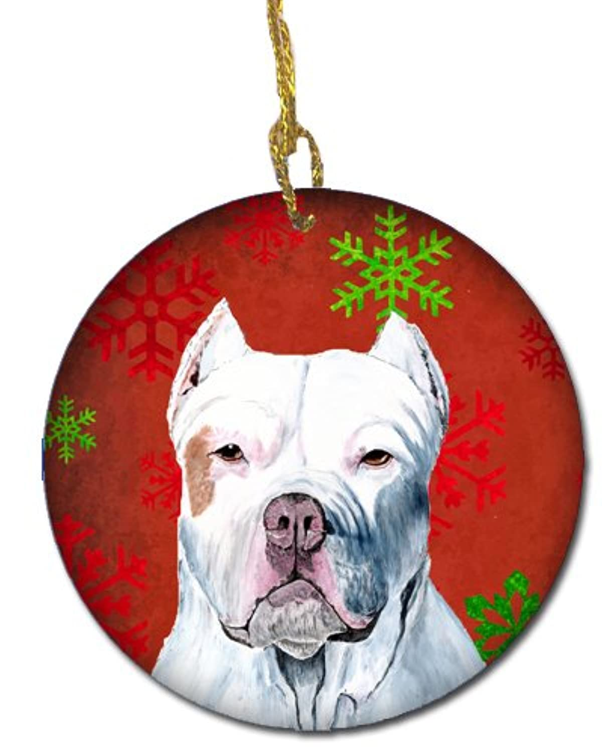 Carolines Treasures SC9421-CO1 Pit Bull Red Snowflakes Holiday Christmas Ceramic Ornament