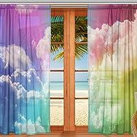 マキク(MAKIKU) レースカーテン 遮光 断熱 遮熱 ミラーレースカーテン ドアカーテン おしゃれ シェードカーテン レインボー 虹色 青空 UVカット 薄手 目隠し 幅140cm×丈200cm 2枚組