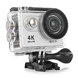 スポーツカメラ アクションカメラ 4K 高画質 KuGi 30m防水 Wi-Fi搭載 1080P フルHD 60fps HDMI 20MP + 170度広角レンズ 2.0インチ液晶画面 防水カメラ バイク/自転車/車などに取り付け可能 ホワイト