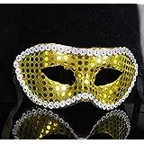 HuaQingPiJu-JP フラットヘッドスパンコールサイドマスクハロウィーンパーティー仮面ライダーマスク(ゴールド)
