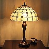16インチの牧歌的な黄色のグリッドティファニースタイルのステンドグラスのテーブルランプベッドランプ