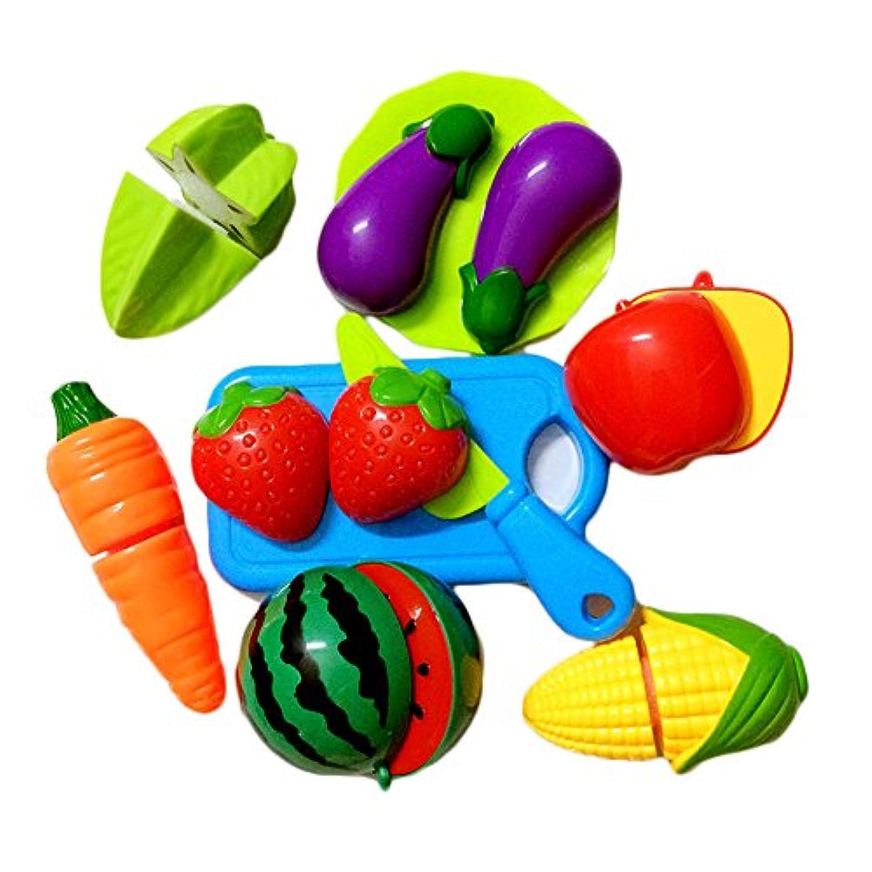 Happyハッピー耳 子供 キッチン おままごと おもちゃ セット ごっこ遊び 果物や野菜をカット 知育玩具 子供の誕生日プレゼント 入園お祝い (10点セット)
