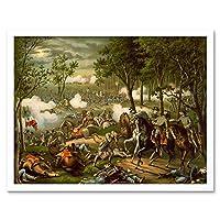 War American Civil Battle Chancellorsville USA Hooker Art Print Framed Poster Wall Decor 12X16 Inch 戦争アメリカ人市民戦いアメリカ合衆国ポスター壁デコ