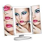 化粧鏡 スタンドミラー LED三面鏡 36LEDライト搭載 明るさ調節可 折りたたみ式鏡 タッチスクリーン 2倍&3倍&10倍拡大鏡付き 角度180度調節可 電池式またはUSB給電