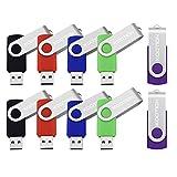 KOOTION USBフラッシュメモリ 16GB 回転式 10個セット ミックスグカラー(赤、緑、黒、青、紫)