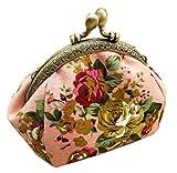 iSuperb 小銭入れ がま口 ポーチ 帆布がま口財布 レディース キャンバス 丸形 かわいい ミニ 花柄 5色選択可 (ピンク)