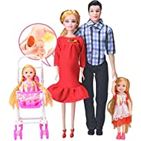 1set / 4pc人形Family with Clothes、makaorピンクドレスReal Pregnant人形Mom & Dad &娘家族おもちゃセット子供用おもちゃホームインテリア Baby:5cm/Mom:28cm/Dad:30cm/Daughter:14cm(Approx) レッド QD