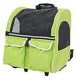PetStyle 2WAYキャリーカート ペット用 リュック&カート 猫 小型犬 Mサイズ (グリーン)
