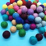 100個 ウールボール フェルト カラフル ガーランド 羊毛繊維 径2cm ボール 超軽量 可愛い 20色 パーティー飾り