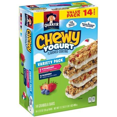 Quaker Chewy Yogurt Strawberry/Blueberry Granola Bars 35gx14(490g) クエーカーチュイヨーグルトイチゴ/ブルーベリーグラノーラバー [並行輸入品]