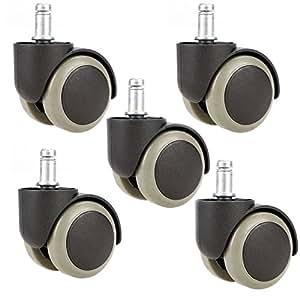 Walant ウレタンキャスター OAオフィスチェア用ホイール 変換ゴムキャスター ホイール差込式 360度回転 取替えキャスター 静音 傷つけにくい 適応穴直径:11mm シャフト長:22mm 5個セット (グレー)
