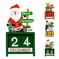 AHUA クリスマスカウントダウン クリスマス アドベントカレンダー サンタクロース スノーマン エルクギフト (3個パック) クリスマスオーナメント ホームパーティー 木製カレンダー メリークリスマス 新年のデコレーション テーブルや棚に最適