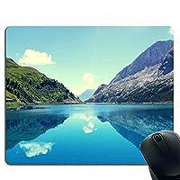牧歌的な夏の風景 山 湖 グリーン ブルー マウスパッド 滑り止め マウスパッド レーザー&光学式マウス対応マウスパット 長方形
