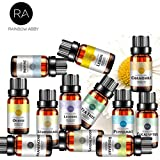 Rainbow Abby アロマセラピー トップ 12 エッセンシャル オイル、セラピューティック グレード オイル - オレンジ、ティーツリー、ローズマリー、ジャスミン、カモミール、サンダルウッド、レモングラス、ラベンダー...