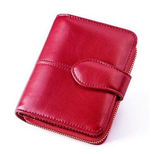 766e9ad7cdbc YOBOKO 財布 wallet ギフト ウォレット 女性用 かわいい 可愛い 大人 カード 小銭入れ 二つ折財布 人気 大容量 レディス 二つ折り  ながさいふ 使いやすい (レッド)