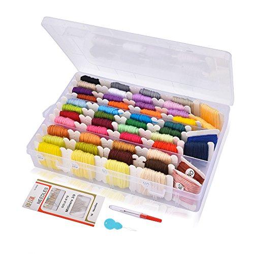 刺しゅう糸 刺繍系セット 刺しゅう針付き 刺繍針セット ミサンガ 組みひも クロスステッチ 箱入り 収納便利 カラーが豊富で綺麗 まとめ買いオリジナルセット カラフル