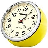 Movebest 置き時計 ミニ イエロー 車載用 小型 アナログ クオーツ 時計 かわいい
