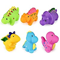 Set of 6 Dinosaur Water Bath Toy Squirt Floating Bathtub Rubber Animal for Toddler [並行輸入品]