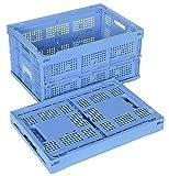 松本産業 業務用折りたたみコンテナ・40L網目 ブルー( 40A)・カード差し付き・名入りステッカー付き