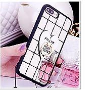 超人気セット(強化ガラスフイルム+格子柄ミラーケース」SPRING COME iPhone6s iPhone6 PLUS 3D TPU 軽量 ウルトラ スリム 超薄型 バック ケース アイフォン7 アイフォン7カバー スマホケース スマホカバー 超薄 軽量 鏡面 RING リング スタンド機能  プラスチック製 アイホン7プラス カバー アイフォーン (アイホン7プラス, 7) [並行輸入品]