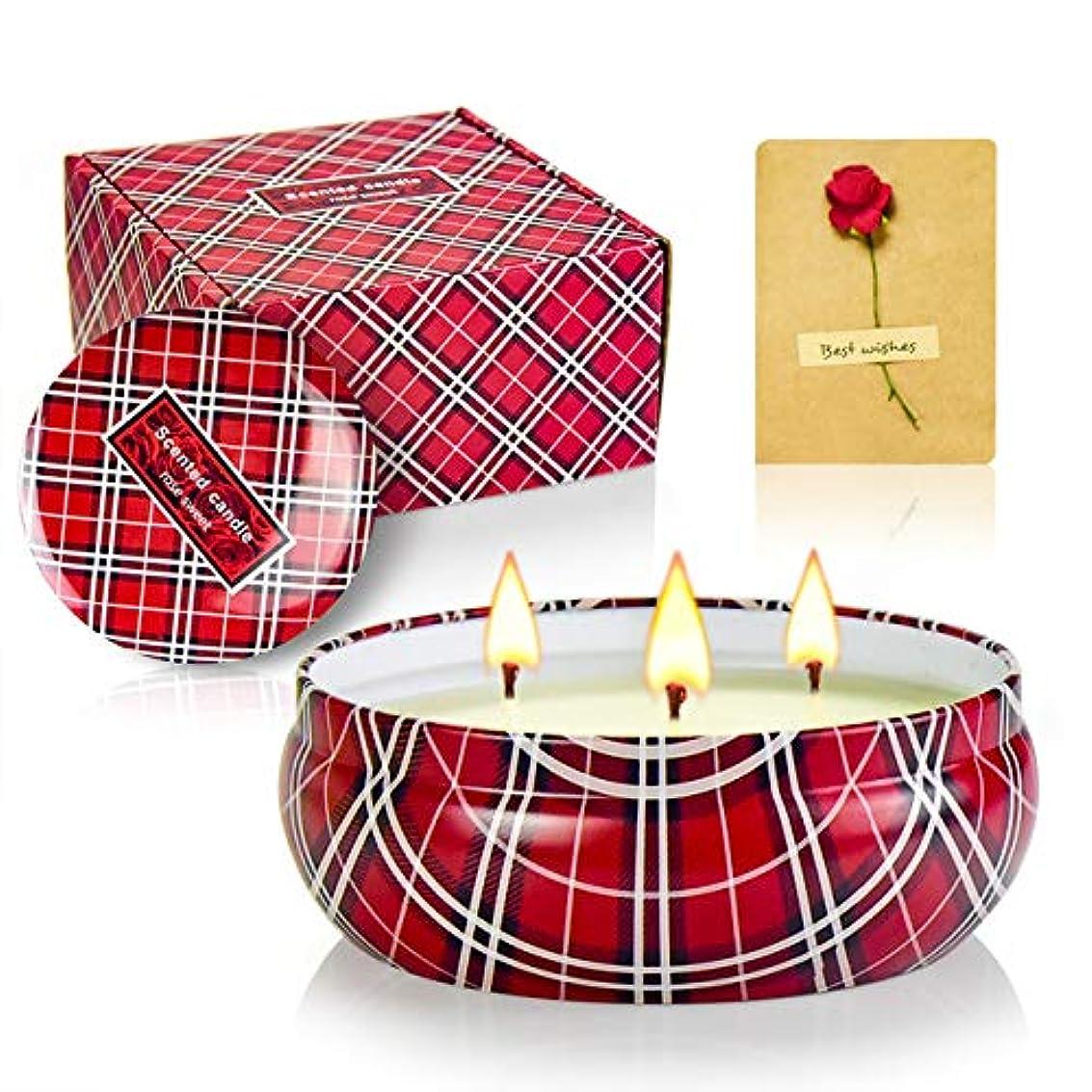 祭司トレイアミューズ大型缶無煙キャンドルカップブリキ3コアキャンドルライト14OZローズの香りのキャンドル(5ボックス)