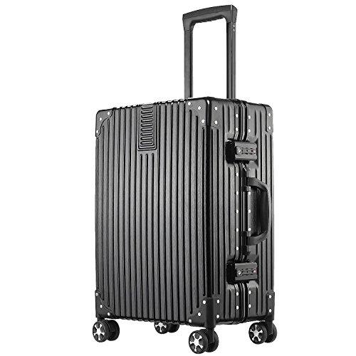 (アスボーグ)ASVOGUE スーツケース キャリーケース TSAロック 半鏡面仕上げ アライン加工 アルミフレーム レトロ 旅行 出張 軽量 静音 ファスナーレス 機内持込可 保護カバー付き (XL, ブラック)
