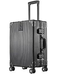 (アスボーグ) ASVOGUE スーツケース キャリーケース TSAロック 半鏡面仕上げ アライン加工 アルミフレーム レトロ 旅行 出張 軽量 静音 ファスナーレス 機内持込可 保護カバー付き