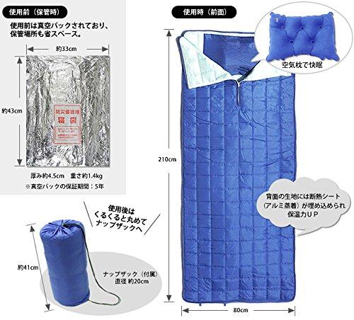 防災備蓄用の真空圧縮 寝袋(災害時行動情報携帯カード付)...