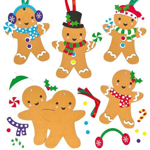 いろいろ選べる クリスマスツリー ジンジャーブレッドマン スポンジオーナメント 工作キット(6個入り) 子どもたちの手作りに