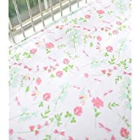 My Baby Sam Spring Floral Crib Sheet Coral [並行輸入品]