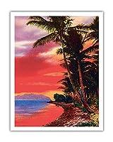 アイルO '夢、ハワイ - ビンテージなハワイアンカラーのハガキ c.1930s - アートポスター - 28cm x 36cm
