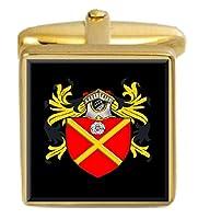 選択ギフトカレーアイルランド家紋Surnameの国章ゴールドCufflinks Engravedボックス