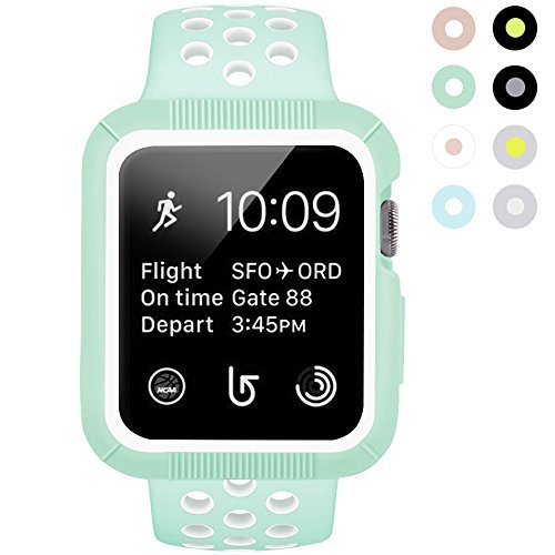 BRG Apple Watch Case with Band Shock-proof and Shatter-resistant Protective Case with Silicone Sport iWatch Band for Apple Watch Series 2 Series 1 Sport and Edition 38mm S/M Mint Green/White [並行輸入品]