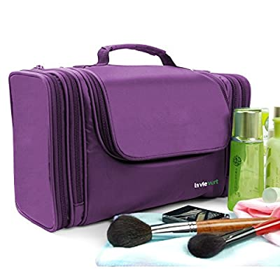 Lavievert Toiletry Bag / Makeup Organizer / Cosmetic Bag / Portable Travel Kit Organizer / Household Storage Pack / Bathroom Storage with Hanging for Business, Vacation, Household - Purple