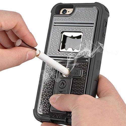 ZVE iPhone6s plus ケース iPhone6 plus ケース ライター 栓抜き カメラ三脚機能付きケース 5.5インチ 耐衝撃 防塵カバー(ブラック)