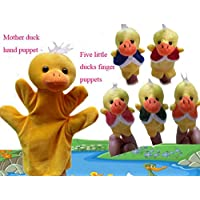 ychoice面白いFinger Puppets Toy 5 Plush Finger Puppets and 1手指ストーリーThe 5 Litter Duck