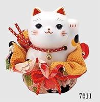 ふく福巾着 縁起物 インテリア雑貨 彩絵 ふく福巾着招き猫 (左手上げ・大)