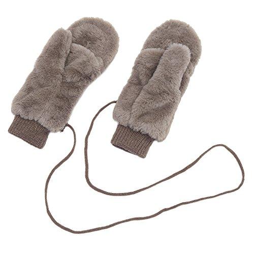 (アーバン ココ)[Urban CoCo]もこもこ ミトン レディース 手袋 防寒 グローブ 冬 紐付き スマホ対応 2WAY 裏起毛 無地(コーヒー)