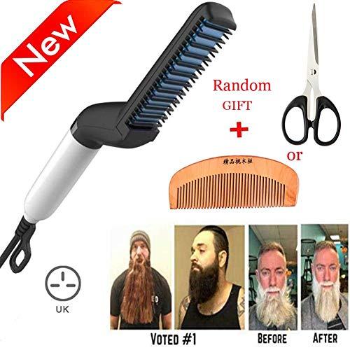 電動ストレートヘアアイロンブラシ、男性用クイッククレイストレ...