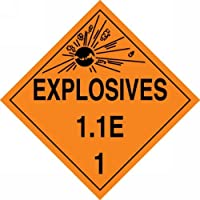 Accuform Signs MPL15VS25 Adhesive Vinyl Hazard Class 1/Division 1E DOT Placard Legend EXPLOSIVES 1.1E 1 with Graphic 10-3/4 Width x 10-3/4 Length Black on Orange (Pack of 25) [並行輸入品]
