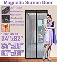 """FitLife マグネットスクリーンドア フルフレーム ベルクロ 高耐久メッシュが高いドアにフィットします サイズは最大で34""""x95"""" です 36''x83'' - Fits doors up to 34''x82'' Max TFL-ScreenDoor-Black"""
