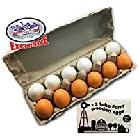 Matty's Toy Stop Deluxe Wooden Eggs (White & Brown) in Real Egg Carton Play Food - 12 Pieces (Dozen) [並行輸入品]