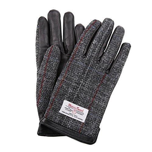 ハリスツイード 手袋 スマホ対応 メンズ 本革 レザー グレーチェック [Mサイズ]