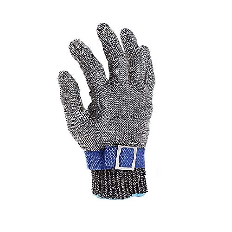 深める誰黒くする食肉加工、釣り用のカット耐性の手袋、ステンレス鋼線メタルメッシュブッチャー安全作業手袋,XL