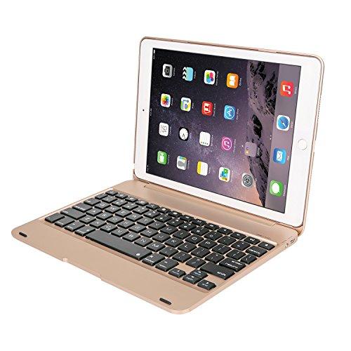 iPad Pro 9.7/iPad Air 2 キーボードケース【Earto】オートスリープ スタンド機能 ワイヤレスキーボードbluetoothキーボード 保護ケース (ゴールド)