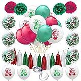 LULAA クリスマス飾り 風船セット バルーンセット 豪華 飾り付け ガーランド テープ 紙吹雪 紙製の花 紙製のタッセル パーティー 学園祭 デコレーション KTV ショップ 30点 34点