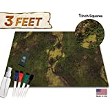 Battle Grid Game Mat - 36x24 Table Top Role Playing Map - DND Role Play - RPG Dungeons and Dragons Maps Tiles - Reusable Miniature Figure Board Games - Tabletop Gaming Mats (Dark Moss) [並行輸入品]