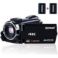 Kenuo デジタル4Kビデオカメラ WIFI機能 2400万画素 48MP 270度回転 バッテリー*2