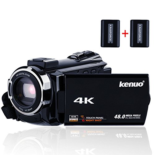 Kenuo デジタル4Kビデオカメラ WIFI機能 ホットシュー機能 1300万画素 SD画質 48MP 16倍デジタルズーム 270度回転 3インチタッチパネル ナイトビジョン機能 SDカード(最大128GB) サポート WIFI搭載 広角レンズ装着可能 バッテリー*2 日本語説明書付き